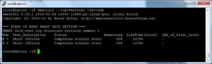 smartctl --log=selftest /dev/sda