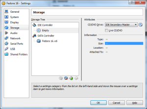 Virtual machine setting window