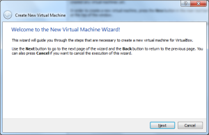 VirtualBox Welcome page
