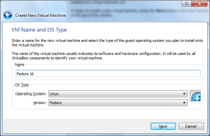 Assign the name and os type in VirtualBox