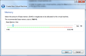 Choosing Memory in VirtualBox