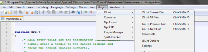 JSLint options within Notepad++