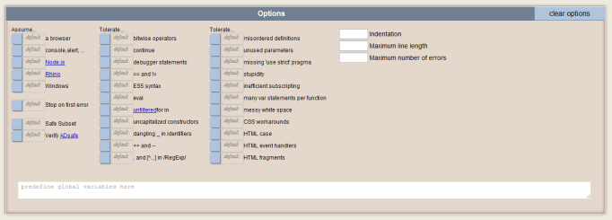 jslint online code quality options