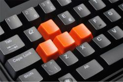 Keyboard with historical game keys in orange