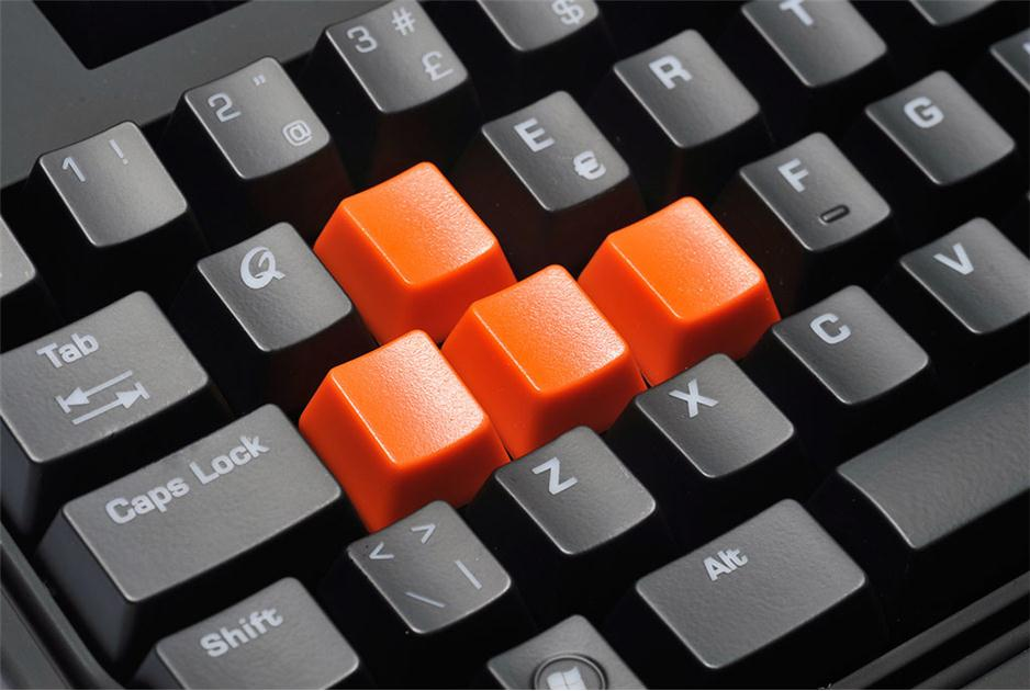 Keyboard with historical game keys in orange